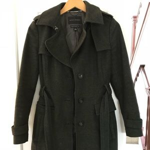 Wool Trench Coat Hunter Green GREAT condition